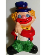 Clown Hobo Piggy Bank Hand Painted Ceramic 1970s Childrens Room Decor - $15.00