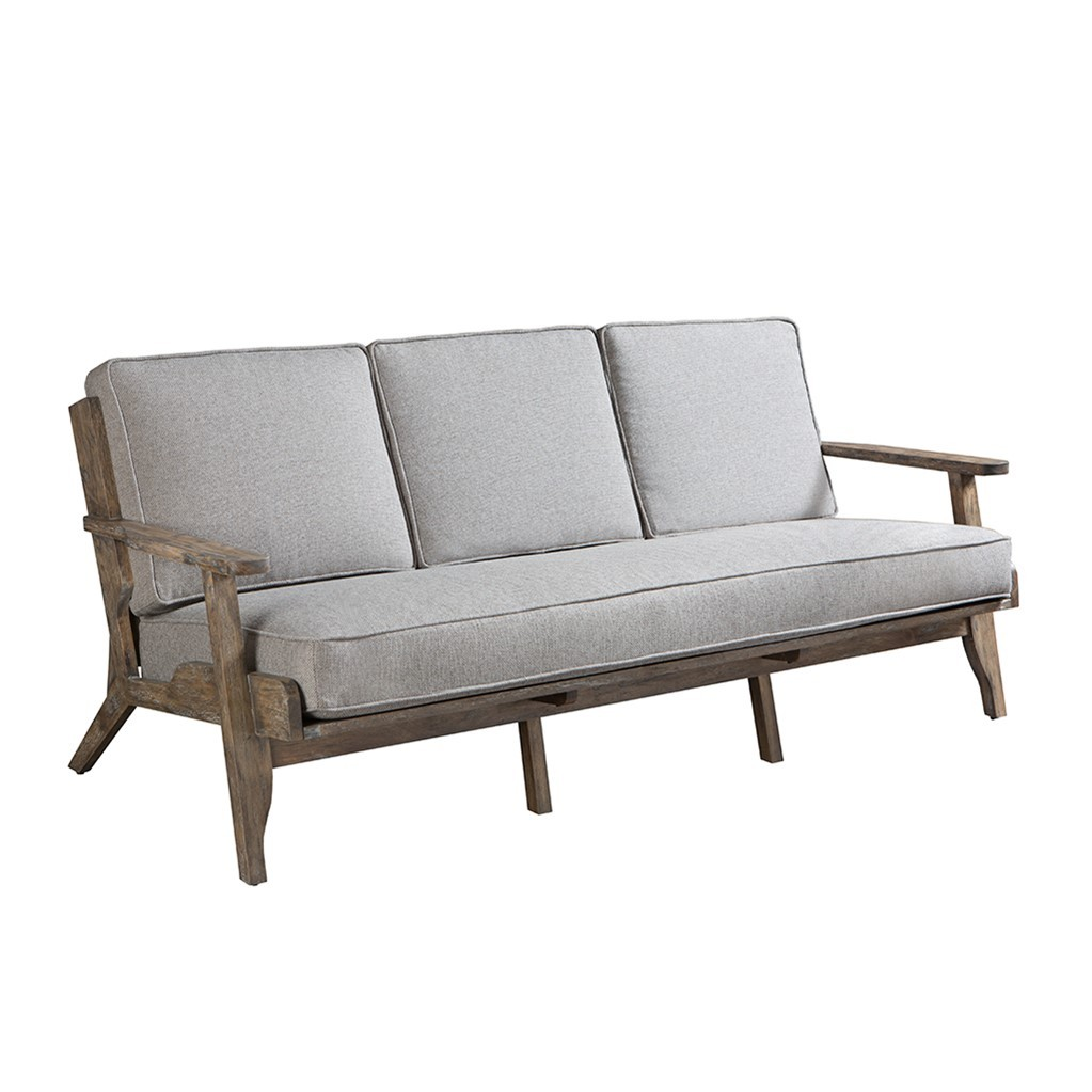 Modern Driftwood Rustic Gray Fabric Upholstered And Wood Sofa Sofas Loveseats Chaises