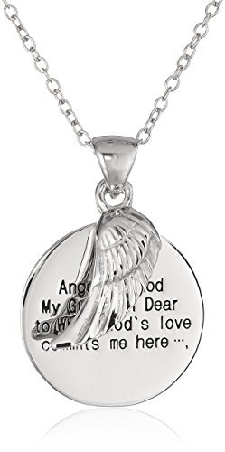 Primary image for Amazon Collection Sterling Silver Angel of God and Wing Pendant Necklace, 18""