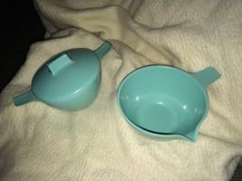 VTG Melamine Cream And Sugar Bowl Light Blue Tu... - $14.01