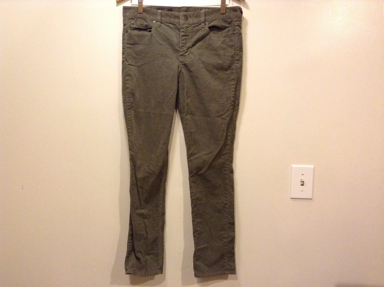 Great Condition J. Crew Reid Size 29P Cotton Blend Green Corduroy Zipper Button