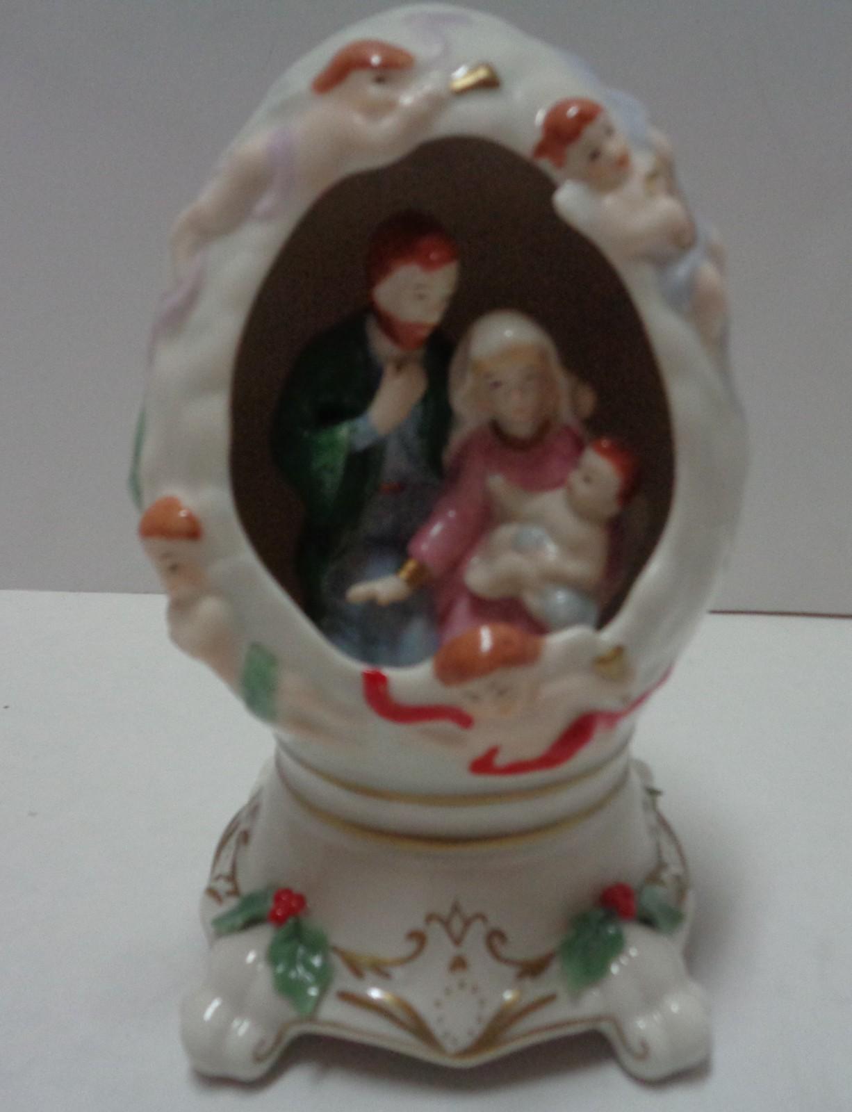 "Sankyo Porcelain Egg Shaped Nativity Scene Musical ""O Holy Night"""