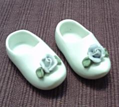 Vintage Miniature Porcelain Dutch Shoes/Clogs With Applied Blue Flower - $9.99