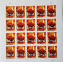 DIWALI Diya Oil Lamp Lit 1st Class (USPS)  FOREVER Stamps sheet 20 - $14.95