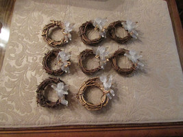 napkin rings, grape vine wreathes w/translucent angels w/touch of gold - $22.44