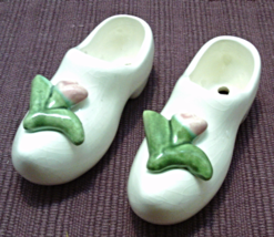 Vintage Porcelain Dutch Shoes/Clogs With Applied Pink Flowers //Shabby/C... - $10.99