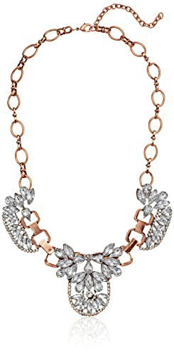 Primary image for Amazon Collection Crystal Art Deco Brass Statement Necklace, 16""