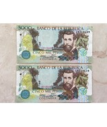 2 Colombia 5000 Mil Pesos 2009 Consecutive Serial #'s Uncirculated Banknote - $19.80