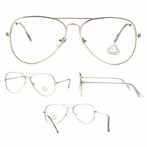 Classic Gold Retro Vintage Clear Flat Lens Pilots Metal Rim Eye Glasses - $12.95