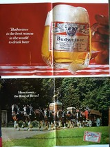 Budweiser centerpage 1967 vintage magazine ad lot of 2 20x13 beer bar or... - $49.25