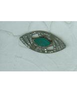 Oval Pin Silver Rhinestone Green Cabochon Incis... - $8.00