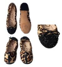 Sam Edelman Beatrix Leopard Calf Fur Spike Studded Cap Toe Ballet Flats 6M - $72.00