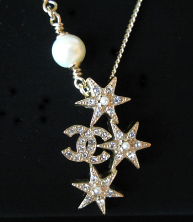 CHANEL 2015 CC Logo Crystals Pearls Stars Pendant Necklace Authentic New