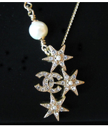 CHANEL 2015 CC Logo Crystals Pearls Stars Pendant Necklace Authentic New - $479.99