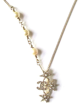 CHANEL 2015 CC Logo Crystals Pearls Stars Pendant Necklace Authentic New image 2