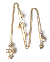 CHANEL 2015 CC Logo Crystals Pearls Stars Pendant Necklace Authentic New image 3