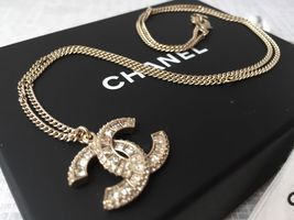 AUTHENTIC Chanel Gold Crystal Rhinestone Pendant CC Logo Necklace Classi... - $499.99