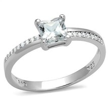 HCJ Women's Sterling Silver 0.75 Carat Princess Cut CZ Engagement Ring S... - $22.49