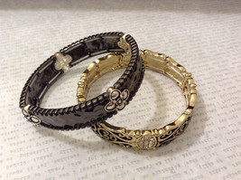 Jubilee! Lot of 2 New Without tag Metal Gold Silver Black Tone Bracelets Floral