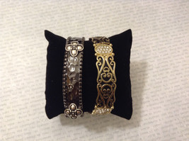 Jubilee! Lot of 2 New Without tag Metal Gold Silver Black Tone Bracelets Floral image 2