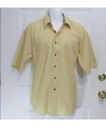 New Sz L 16-16.5 Van Heusen Mens Pale Gold Cotton Blend SS Button Collar... - $7.99