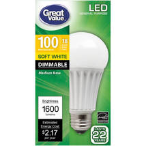 Great Value LED Light Bulb 18W 1600 Lumens 100W Equivalent Dimmable Soft White  - $15.00