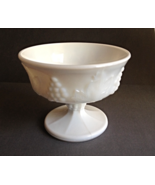 Vintage Small White Milkglass Footed Compote Candy Dish Grapes Mid Century - $5.00