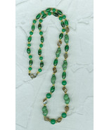 Vintage 24 Inch Long  Glass Bead Necklace Gree... - $20.00
