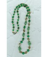 Vintage 24 Inch Long  Glass Bead Necklace Green Gold Czechoslovakian Je... - $20.00