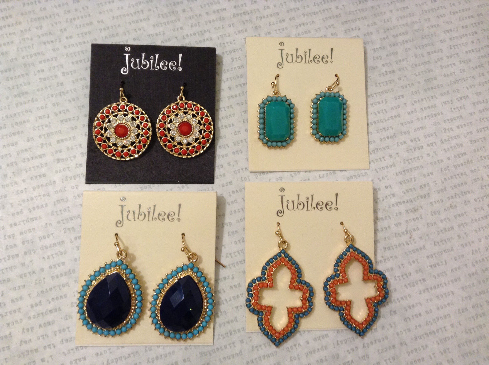 Lot of 4 pcs New Jubilee! Beaded like Dangle Hook Earrings Collection
