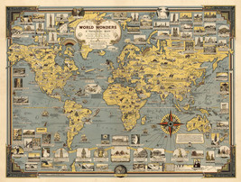 1939 Pictorial Map World Wonders History Home Schooling Wall Poster Prin... - $12.38+
