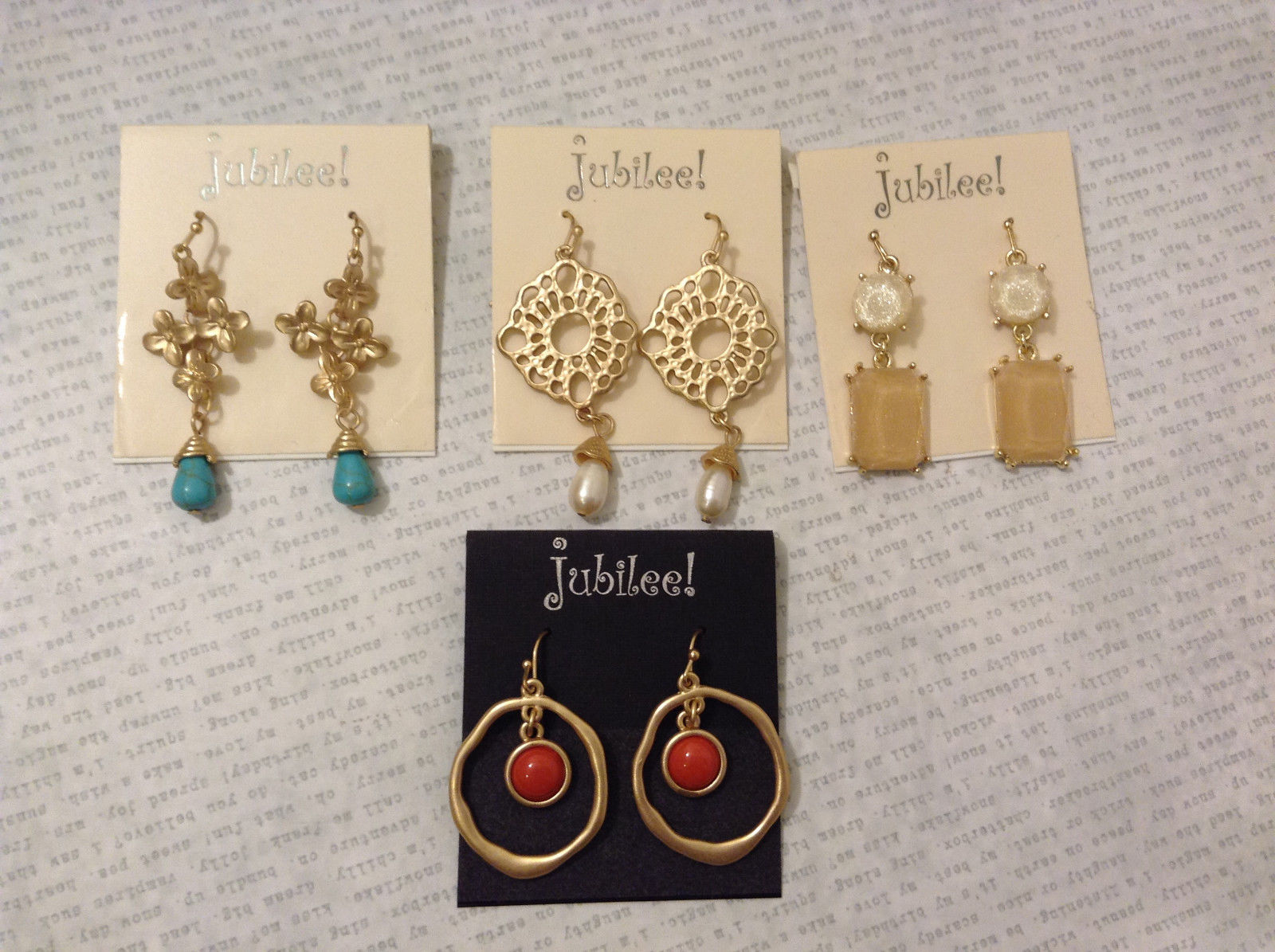 Lot of 4 pcs New Jubilee! Gold Tone Brushed Dangle Hook Earrings Collection