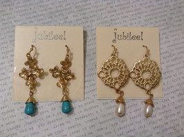 Lot of 4 pcs New Jubilee! Gold Tone Brushed Dangle Hook Earrings Collection image 2