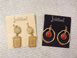 Lot of 4 pcs New Jubilee! Gold Tone Brushed Dangle Hook Earrings Collection image 3
