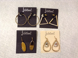 Lot of 4 pcs New Jubilee! Gold Tone Metal Dangle Hook Stud Earrings Collection