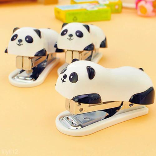 Home School Office Desk Mini Cartoon Panda Stapler + Free 1000Pcs Staples Set