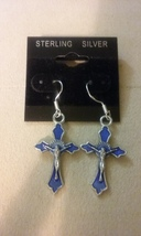 Artisan Handmade Sterling Silver Blue Enamel Cross Dangle Earrings Jewel... - $1.99