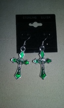 Artisan Handmade Sterling Silver Green Enamel Cross Dangle Earrings Jewe... - $1.99