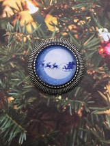 Moonlit Santa Clause and Reindeer Flying by Sleigh Glass Pin / Brooch  - $5.50