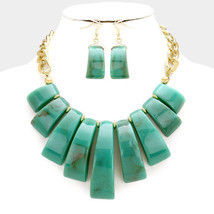 Turquoise Color Necklace & Earring Set Chunky Celluloid Tortoise Stateme... - $16.93