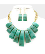 Turquoise Color Necklace & Earring Set Chunky Celluloid Tortoise Stateme... - £12.47 GBP