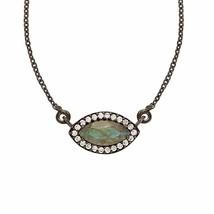 Wedding Jewelry Labradorite & White Topaz Gemstone 925Sterling Necklace SHNL0052 - $17.56
