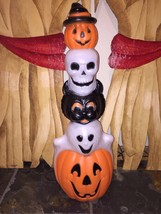 "Rare Halloween 32"" Pumpkin, Skull, Black Cat & Ghost Totem  Blow Mold - $69.29"