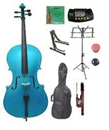 Crystalcello 4/4 Size Blue Cello with Carrying Bag and Bow - $145.00