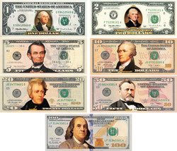 *Set of all 7* COLORIZED 2-SIDED U.S. Bills Currency $1/$2/$5/$10/$20/$5... - $399.95