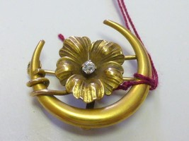 Victorian Pansy Flower Crescent Moon 10K Gold Diamond Pocket Watch Pin B... - $199.99