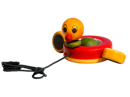 Organic Handmade Natural Dyed Wooden Pull Toy Duck for Toddlers - $17.99