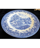 "Currier & Ives Blue by Churchill England Harvest scene dinner plate 10.5"" - $23.76"