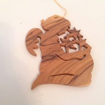 Wooden Angel Christmas Ornament Wood Grain Kneeling Stars Christian Nati... - $12.59