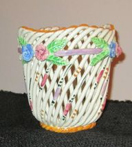 HAND PAINTED WEAVED LATTICE BASKET SIGNED VALEN... - $10.83